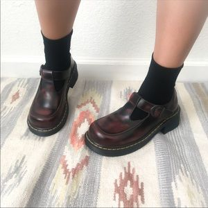 Dr. Martens Airwair Burgundy Mary Janes Size 7